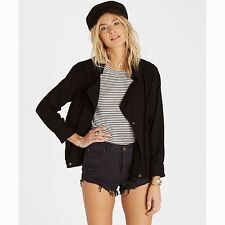 2016 NWT WOMENS BILLABONG JUST LIKE ME JACKET $100 M off black double breasted