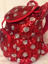 MINNIE MOUSE POLKA DOTS SEQUINED RED DISNEY PARK BACKPACK BAG New