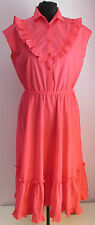 VTG 90s Ladies Unbranded Pink Polycotton Frilled Summer Dress Size 12