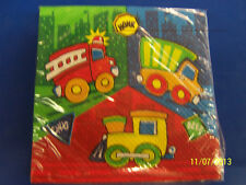 Construction Pals Fire Dump Truck Train Birthday Party Paper Beverage Napkins