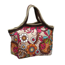 Women's Nylon Handbag Lunch Box Organizer Storage Bag Sunflower Print Vintage