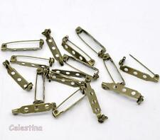 20 x Antique Bronze Brooch Backs Bar Pins - Rolling Catch Clips - 26.5mm x 5mm