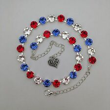 Cup Chain Necklace  Made With Genuine Swarovski Crystal Patriotic Red White Blue
