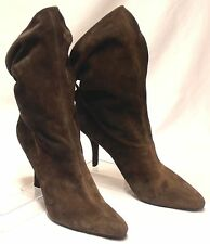 Size 10 M NINE WEST Brown Suede Leather X-High Heel Slouch-Back High Ankle Boots