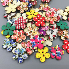 DIY 50X Wooden Flowers Cloth Printing Sewing decoration scrapbooking crafts 20mm