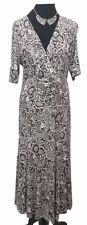DAVID NIEPER Dress Size 12 Brown Black Beige L53in Designer Wrap Dress