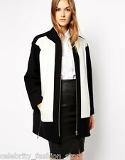 French Connection Wool Oversized Black Block Smart Casual Jacket Coat 14 42 New