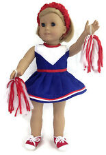 "Cheerleading Set w/Pom Poms & Schrunchie made for 18"" American Girl Doll Clothes"