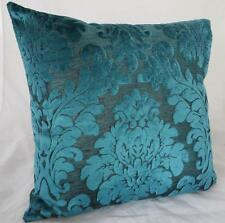 Turquoise Flocked Velvet Cushion Cover ~ 45cm