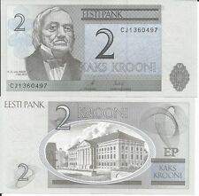 ESTONIA 2 KROONI 2007 P 85 LOTE DE 5 BILLETES