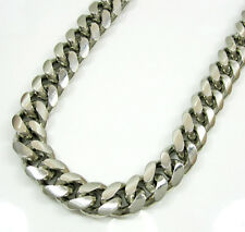 """32"""" 10.2mm 208 Grams 925 Sterling Silver Miami Cuban GP Chain Necklace Mens"""