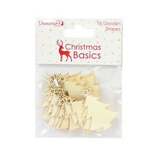 CHRISTMAS BASIC WOODEN CHRISTMAS TREE EMBELLISHMENTS FOR CARDS/CRAFTS