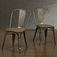Metal Kitchen Chairs Dining Room Furniture Seating Industrial Stackable Set Wood