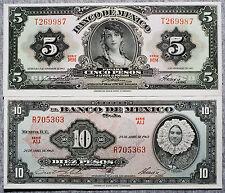 2 different Mexico 10 Pesos 1963 xf and 5 Pesos 1969 au