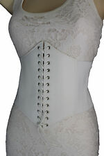 Sexy Women White Belt Extra Wide Corset Tie High Waist Slimming Faux Leather S M
