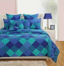 Swayam Turquoise and Blue Colour Square Patch Geometrical Print Single Bed Sheet