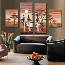 4PC Pure Hand-painted Oil Painting on Cavas African Landscape Wall Art NO Framed