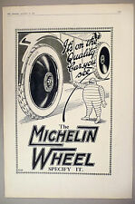 "Michelin Tire PRINT AD - 1920 ~~ Large 11"" x 16"" ~~ tires, wheels"