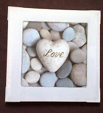 40x40 GREY WHITE PEBBLE STONE LOVE HEART CANVAS WALL ART PICTURE STONES BATHROOM