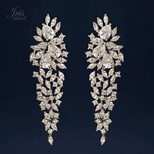 White Gold Plated Cubic Zirconia CZ Wedding Bridal Drop Dangle earrings 0711 New
