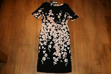 NEW&TAGS M&S blossom print dress SIZE 14 L pencil stretch 50's vintage occasion