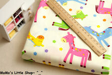 Nursery/Children/Babies Quality Pure Cotton Fabric (Colourful Ponies/Horses)-½ M