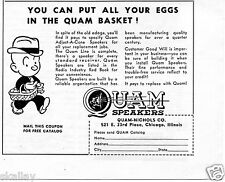 1949 Print Ad of Quam Nichols Speakers you can put all your eqqs in the basket