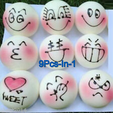 9Pcs-In-1 Random Kawaii Pink Blush Emotion Face Stream Bun SQUISHIES Bread Smell