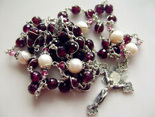 "925 Sterling Silver Garnet Beads ROSARY 2"" Crucifix NECKLACE Catholic Wire Wrap"