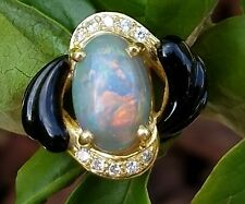 Opal Diamond Onyx 18k Yellow Gold Band Ring Estate Jewelry 9.2 gm