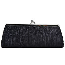 Women Ladies Satin Pleated Wedding Bridal Evening Party Clutch Purse Bag Handbag