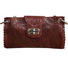 Ital Abendtasche Clutch Leder mit Textur Handtasche Leder Tasche in dunkel Rot
