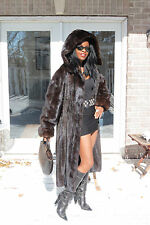 Designer Swing Hooded Sable Black hue Full length Mink Fur Coat Jacket S-L 4-10