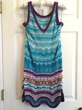 MISSONI Orange Label Knit Dress Aqua Blue Purple Wave Chevron Scallop -Sm- $1500