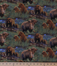 Jagger Rock Brown Bears Nature Wildlife Cotton Fabric Print by Yard D470.04