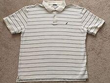 Nautica Men's Polo Shirt Classic Pique Cotton Short Sleeve SZ 2XL Strips Yellow