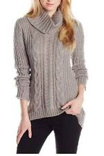 CALVIN KLEIN Knit Turtleneck Sweater Womens size Large Heather Gray Cable Knit
