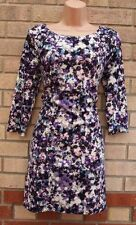 H&M WHITE PURPLE LILAC FLORAL ABSTRACT PRINT CROP SLEEVE SMOCK SHIFT DRESS S