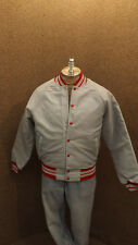 Vtg Eagle Athletic Quilted Nylon Windbreaker Jacket NOS sz Med Gray/Red USA Made