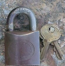 Antique Bronze & Steel Corbin Padlock Original  & Keys