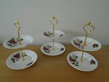 Set of 3 Windsor Red and White Rose 2 Tier China Cake/Afternoon Tea Stands