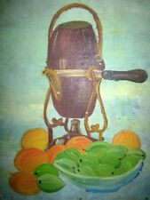 Antique Rare Collectible Fruits Jar Hand Oil Canvas Painting