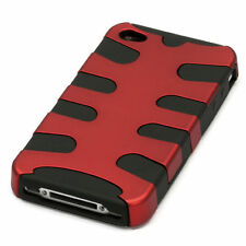 iPHONE 4 4G 4S - HARD & SOFT RUBBER DUAL LAYER CASE COVER RED BLACK FISHBONE