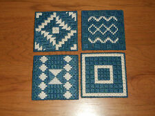 DARK BLUE & CREAM COASTERS WITH FELT BACKING - SET 4 IN 4 DIFFERENT DESIGNS (NEW