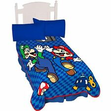 Nintendo Super Mario throw Blanket oversized Raschel Plush brothers Give Me Five
