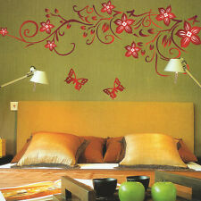 Red Butterfly Flower Vine Art Vinyl DIY Mural Room Decal Wall Stickers Decor 1pc