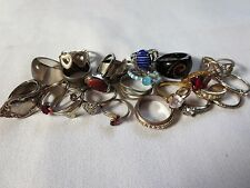 Huge Lot Of Vintage & Mod Jewelry Rings Costume Junk Drawer Missing Stones 25pc