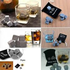 9pcs Whisky Ice Stones Drinks Cooler Cubes Whiskey Scotch Rocks Granite Pouch TA