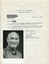 CHIANG KAI-SHEK - orig. Autograph + Brief 1967, Republic of China, Taiwan