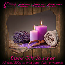 Gift Voucher Card Massage/Beauty/Spa/Holistic Salon - x25 + FREE Envelopes CAN